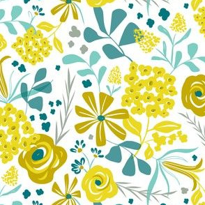 Darcy - Modern Floral Mustard Yellow & Teal
