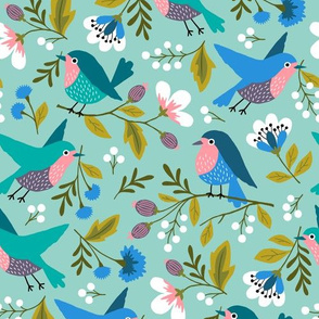 Spring birds with flowers
