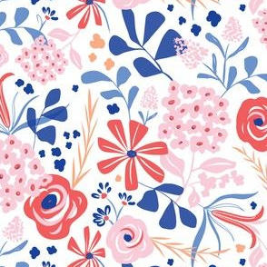 Darcy - Modern Floral Pink Red & Blue