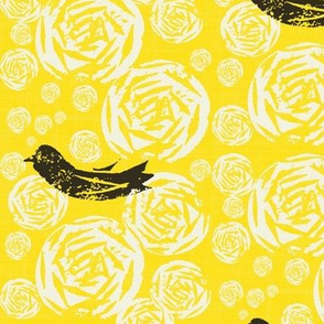 Goldenrod Birds and Blooms // Linocut