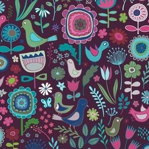 Flowers & Birds - purple, sage & aqua