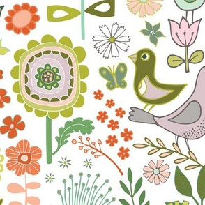 Birds & blooms - Springtime - large