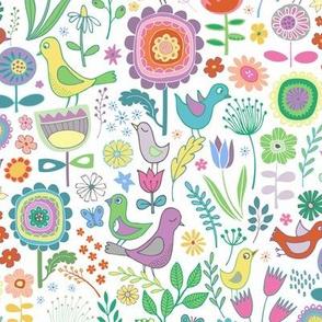 Birds & Blooms - Pastel on white
