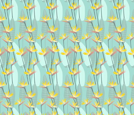 bird_of_paradise-gold_mint-01 fabric by youdesignme on Spoonflower - custom fabric
