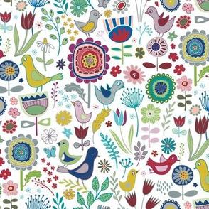 Birds & Blooms - Plum & Mustard
