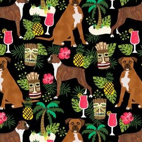 boxer tiki fabric  summer tropical fabric boxer dogs fabric - black