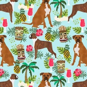 boxer tiki fabric  summer tropical fabric boxer dogs fabric - light blue