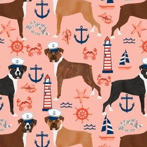 boxer nautical fabric  summer tropical fabric boxer dogs fabric - blush