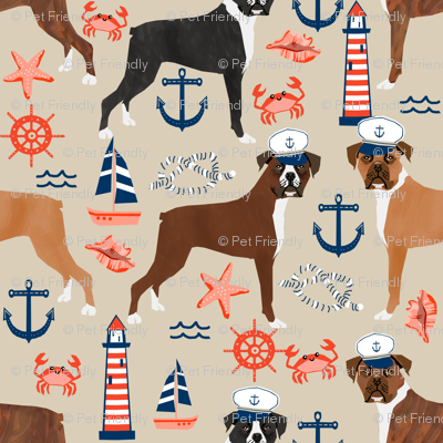 boxer nautical fabric  summer tropical fabric boxer dogs fabric - sand