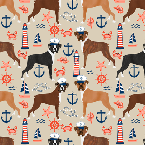 boxer nautical fabric  summer tropical fabric boxer dogs fabric - sand fabric by petfriendly on Spoonflower - custom fabric