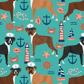 boxer nautical fabric  summer tropical fabric boxer dogs fabric - turquoise