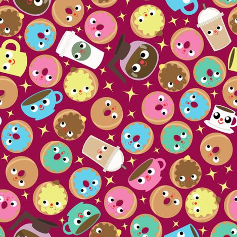 coffee and donuts raspberry fabric by heidikenney on Spoonflower - custom fabric