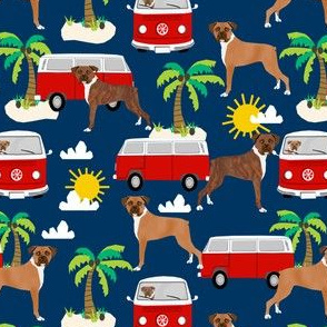 boxer  fabric boxer dogs fabric - navy