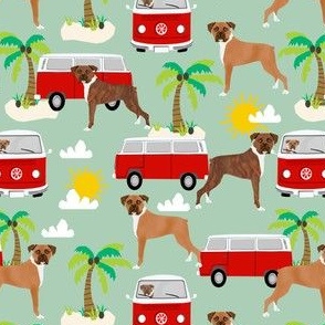 boxer  boxer dogs fabric - mint