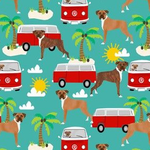 boxer hippie bus beach fabric boxer dogs fabric - turquoise