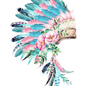 "28""x36"" / 2 to 1 Yard for Cotton Sateen / PINK & AQUA Headdress"