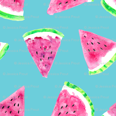 (micro print) watermelon slices - blue