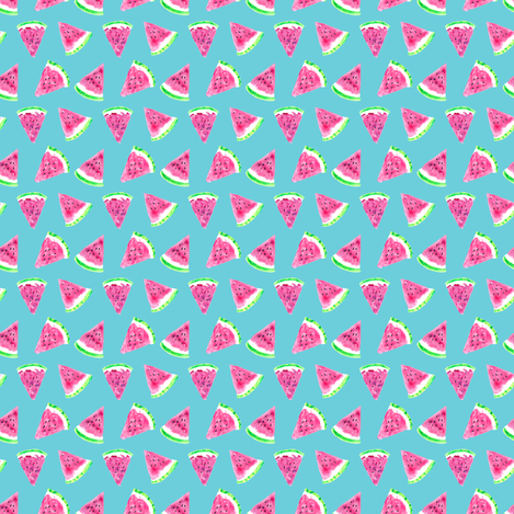 (micro print) watermelon slices - blue fabric by littlearrowdesign on Spoonflower - custom fabric