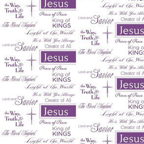 Names of Jesus - Purple Words on White