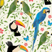 Exotic Birds and Blooms
