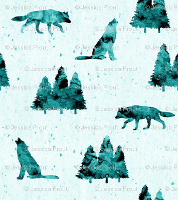 (micro print) wolves on teal