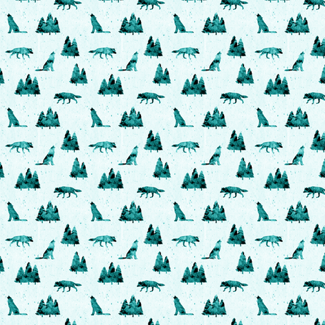 (micro print) wolves on teal fabric by littlearrowdesign on Spoonflower - custom fabric