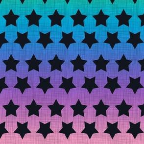 Stars Black on Pastel Rainbow Linen