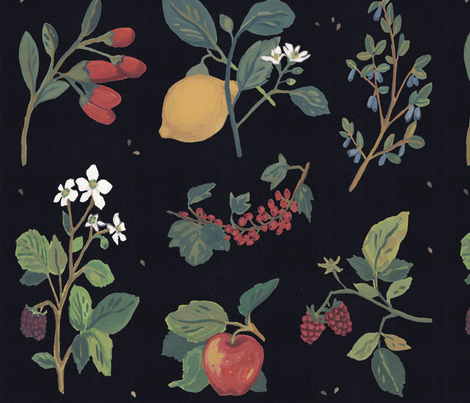 fruitgarden-newlrg_pattern_half_RGB fabric by rasamorrison on Spoonflower - custom fabric