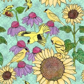Finches, Sunflowers and Coneflowers