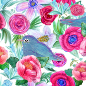 Boho floral Blooming  Bluebirds