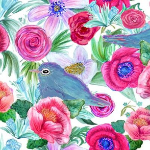 watercolor  floral Blooming  Bluebirds