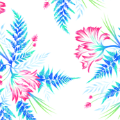 Ferns & Parrot Tulips - White/Blue/Pink - Large Scale