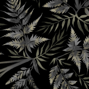Fern Leaves - Black - Large Scale