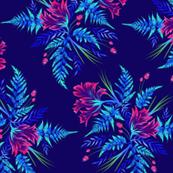 Ferns & Parrot Tulips - Dark Blue/Pink