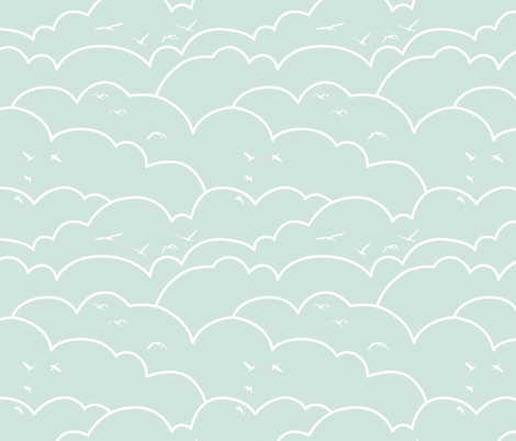 flying high - light mint_request fabric by ravynka on Spoonflower - custom fabric