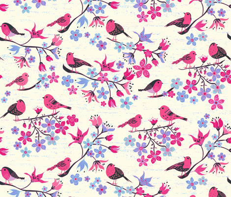 Birds and Cherry Blossom fabric by jill_o_connor on Spoonflower - custom fabric