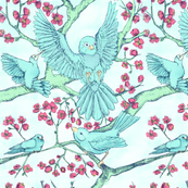 Blue birds and blossoming blooms