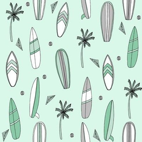 surfboard fabric // surf tropical summer design - mint