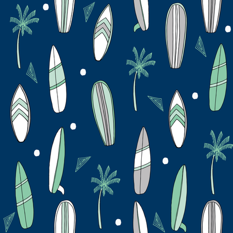 surfboard fabric // surf tropical summer design - navy and mint fabric by andrea_lauren on Spoonflower - custom fabric