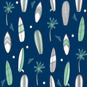 surfboard fabric // surf tropical summer design - navy and mint