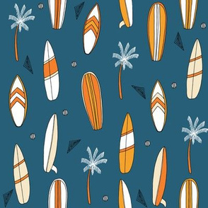 surfboard fabric // surf tropical summer design - blue and orange