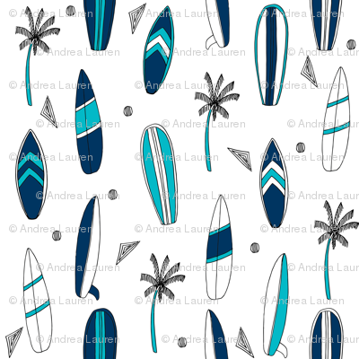 surfboard fabric // surf tropical summer design - navy and white