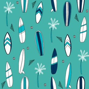 surfboard fabric // surf tropical summer design - navy and turquoise