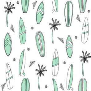 surfboard fabric // surf tropical summer design - mint and white