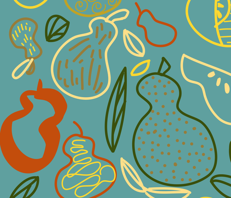 Pears Gallore Turquoise fabric by julie_thibault on Spoonflower - custom fabric