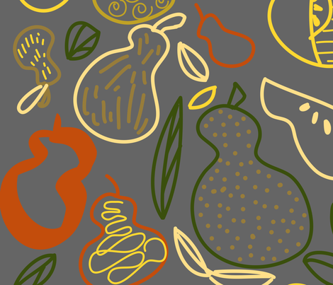 Pears Gallore Pewter fabric by julie_thibault on Spoonflower - custom fabric
