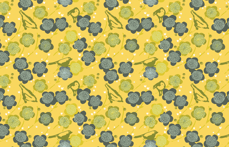 Birds and Blooms M+M Yolk by Friztin fabric by friztin on Spoonflower - custom fabric