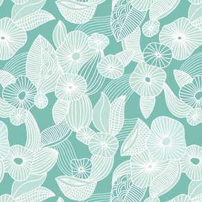 Retro mid century style flowers and blossom summer leaves minty green