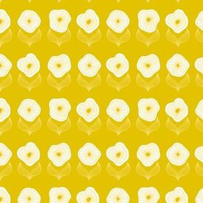 Retro mid century style poppy print flower summer blossom ochre yellow