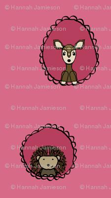 Doe and Hedgehog Portraits in Pink
